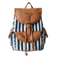 MagicPieces Women's Dark Blue Stripes Print Brown Canvas Backpack 041612