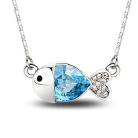 MagicPieces Women's Alloy Cute Fish Shape Pendant with Rhinestone Platium Plating Necklace Color Blue