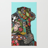 chimpanzee love sky Area & Throw Rug by Sharon Turner | Society6