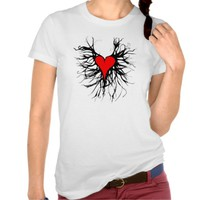 Red heart female t-shirt