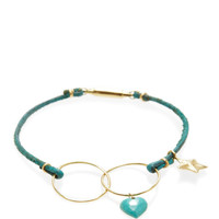 Turquoise Leather & 18K Yellow Gold Bracelet by Inez and Vinoodh - Moda Operandi