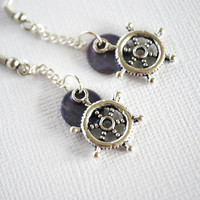 Nautical Earrings featuring Pewter Captain's Wheels by Meghanlee5