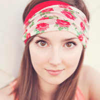 Rose Floral and Red Headband REVERSIBLE