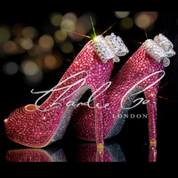 """CHARLIE CO. Pretty In Pink Crystal Strass Clear Bow Peep Toe Platform Heels Hot Pink Silver Bridal Prom Wedding Evening Occasion Shoes 5"""""""