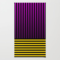 Purple/Yellow/Black Striped Area/Throw Rug by Lyle Hatch @ Society6