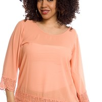 Fresh Breeze Plus Size Crochet Trim Three Quarter Sleeve Chiffon Top - Peach