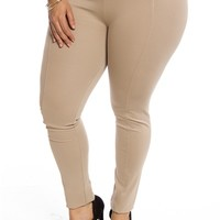 The Look Plus Size Elastic Panel Skinny Pants - Taupe