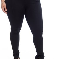 The Look Plus Size Elastic Panel Skinny Pants - Black