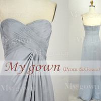 2014 Prom Dress,Strapless Draped Floor Length Chiffon Prom Gowm Dresses,Bridesmaid Dresses,Wedding Cocktail Dress,Formal Dress,Evening Dress