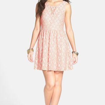 Lush V-Back Lace Skater Dress (Juniors) (Online Only) | Nordstrom