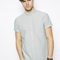 ASOS Oxford Shirt In Teal With Short Sleeves