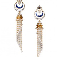 Chandelier Earrings with Kundan & Pearls - Preeti Mohan - Designers