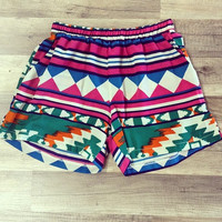 Crazy Colorful Southwest Shorts With Pockets