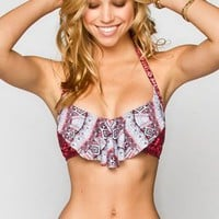 Full Tilt Take Two Flounce Halter Bikini Top Peach  In Sizes