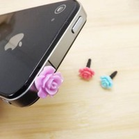 11 Colors Cute Sweet Romantic Sweet Little Rose Flower Anti Dust Plug 3.5mm Smart Phone Dust Stopper Headphone Jack Earphone Cap Dustproof Plug Charm iPhone 4 4S 5 5S HTC Samsung Ipad 2 3 4 5 Mini Ipod Blackberry Sony Cute Gift (Blue Purple Red)