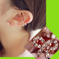 Fashion Bow Rhinestone Ear Cuff (Single, Adjustable, No Piercing)