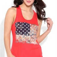High Low Tank Top with Tribal American Flag Screen