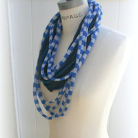 Necklace Scarf Blue Grey Infinity Scarves Summer Loop Scarf Retro Trendy Scarf - By Piyoyo
