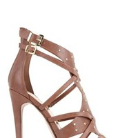 Strappy High Heel with Small Platform and Gold Studs