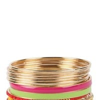 Skinny Bangles Set with Mixed Beads