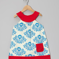 Blue Damask Yoke Dress - Toddler & Girls | something special every day