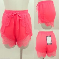 Neon Layered Lace Jogger Cami Shorts Sizes Small,Medium,or Large