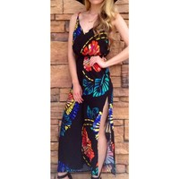 Black Maxi Dress w/ Multicolor Floral Print & Side Split