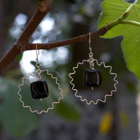 Black and white onyx sterling silver abstract zigzag earrings