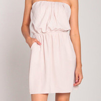 Strapless Classic Dress w/ Pockets in Light Taupe