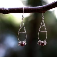 Red & Clear Beaded Sterling Silver Wire Earrings