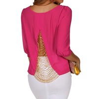 Bright Pink Chain Back Blouse
