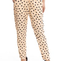 Hit the Polka Dot Spot Polka Dot Pants - Peach