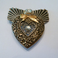 Vintage Gold and Silver Heart Rhinestone Flower Jane Brooch Costume Jewelry.