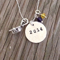 Graduation gift 2014 Custom hand stamped necklace 5/8 inch sterling silver with pewter mortar board charm and 2 school color crystals