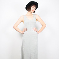 Vintage 90s Dress Club Kid Maxi Dress Dove Gray Silver Slate Gray Bandage Dress Bodycon Dress Minimalist Chic Tank Dress M Medium L Large XL