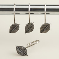ANTIQUE PEWTER LEAF WALL HOOKS, SET OF 12