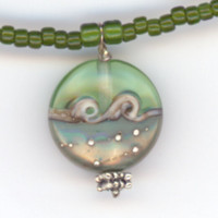 Olive Green Ocean Waves Pendant and Beaded Necklace by Lehane