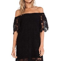Nightcap Carmen Crochet Dress in Black