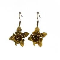 Brass Rose Earrings