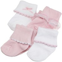 Ribbed Cuff Girl Socks, 4-Pack