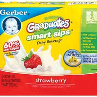 Gerber Smart Sips, Strawberry, 8.25-Ounce Aseptic Boxes (Pack of 18)