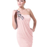 Ever Pretty One Shoulder High Stretch Ornamental Mini Cocktail Dress 03594