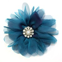 Laliberi Pin and Clip Flower, Billow Bloom Teal