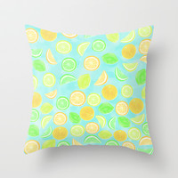 Citrus Jumble (Aqua) Throw Pillow by Lisa Argyropoulos | Society6