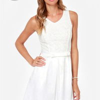 LULUS Exclusive Darling Dame Ivory Lace Dress