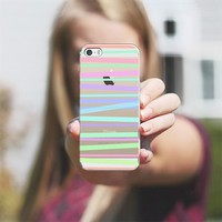 Pastel Rainbow Stripes - Transparent/Clear Background iPhone 5s case by Lisa Argyropoulos | Casetagram
