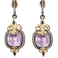 Fleur-De-Lis Sugelite Drop Earrings