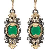 Green Onyx & Diamond Mini-Burst Earrings