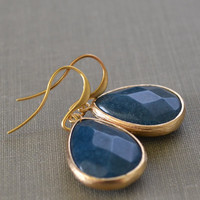 Chambray Earrings, Denim Colored, Framed Gemstone Earrings, Matte Gold, Teardrop Stone, French Hooks, Synthetic Gemstone, Bridesmaid Jewelry