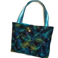 Peacock Feather Tote Purse Shoulder Bag Turquoise Blue Green Purple